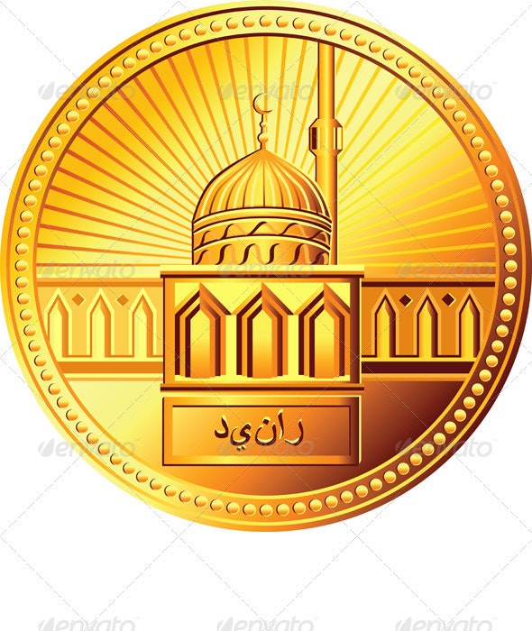 Vector Arab Gold Dinar Coin with the Mosque - Backgrounds Business