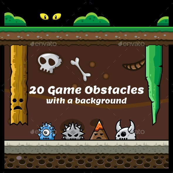 20 Game Obstacles with Background