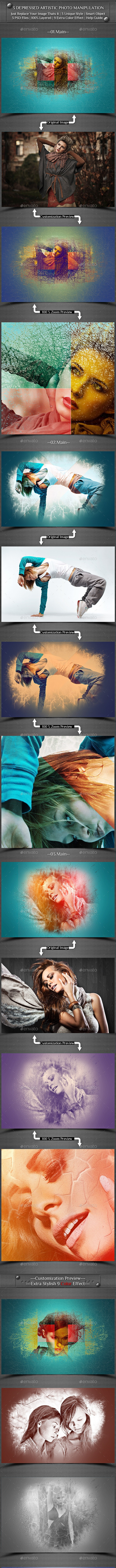 3 Depressed Artistic Photo Manipulation  - Photo Templates Graphics