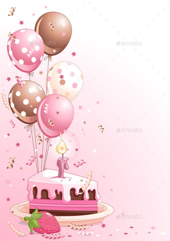 Fantastic Slice Of Birthday Cake With Balloons By Dazdraperma Graphicriver Personalised Birthday Cards Paralily Jamesorg