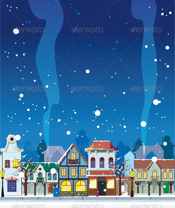 winter in a small town. - New Year Seasons/Holidays
