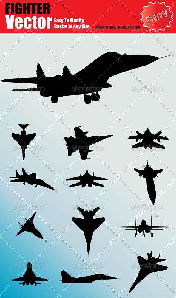 Vector Fighter Jet Silhouette Set - Technology Conceptual