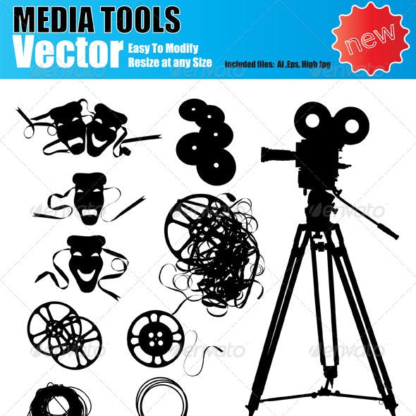 Vector Media Device Silhouette Set