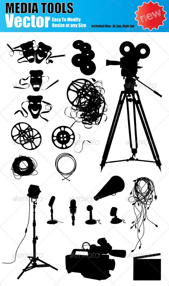 Vector Media Device Silhouette Set - Media Technology