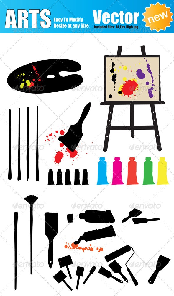 Vector Artist Tools Silhouette Set - Man-made Objects Objects