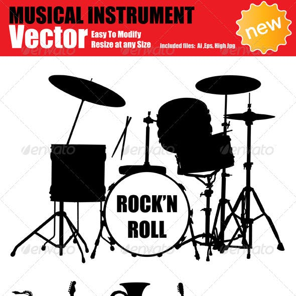 Vector Music Instruments Silhouette Set