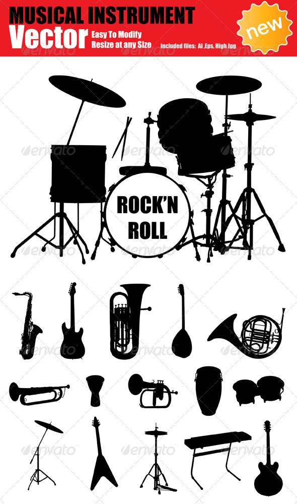 Vector Music Instruments Silhouette Set - Man-made Objects Objects