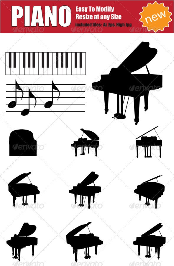 Vector Piano Silhouette Set - Man-made Objects Objects