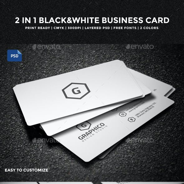 2 in 1 Black & White Business Card - 53