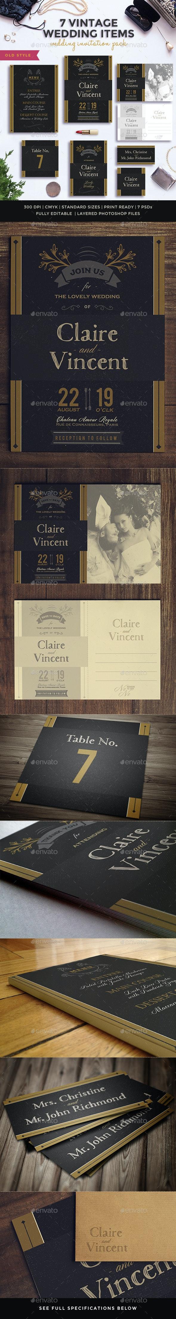 7 Vintage Items - Wedding Pack IV - Weddings Cards & Invites