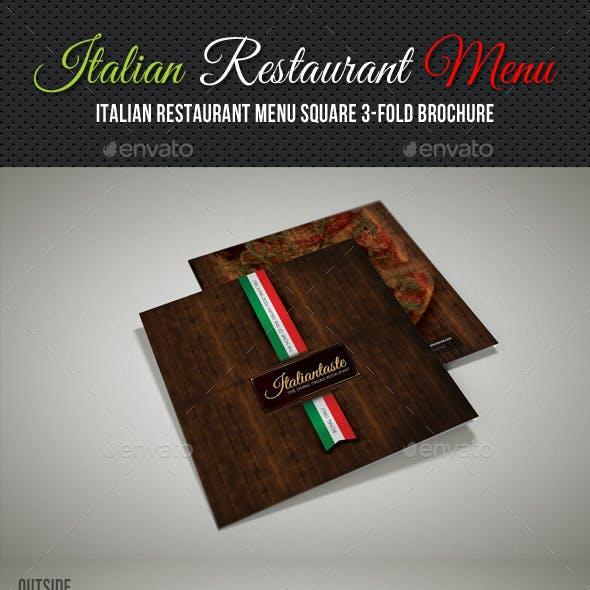 Italian Restaurant Menu Square 3-Fold Brochure