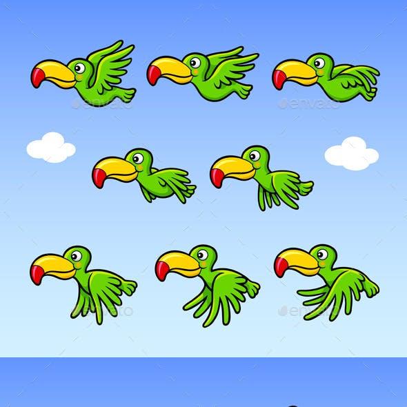 Flying Happy Bird Sprite Game Asset