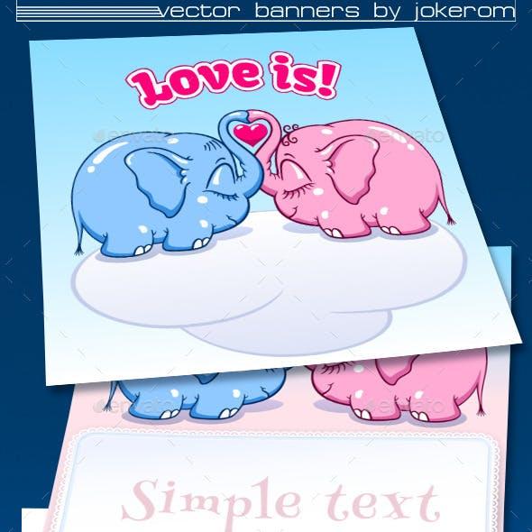 Lovers Little Elephants Banners