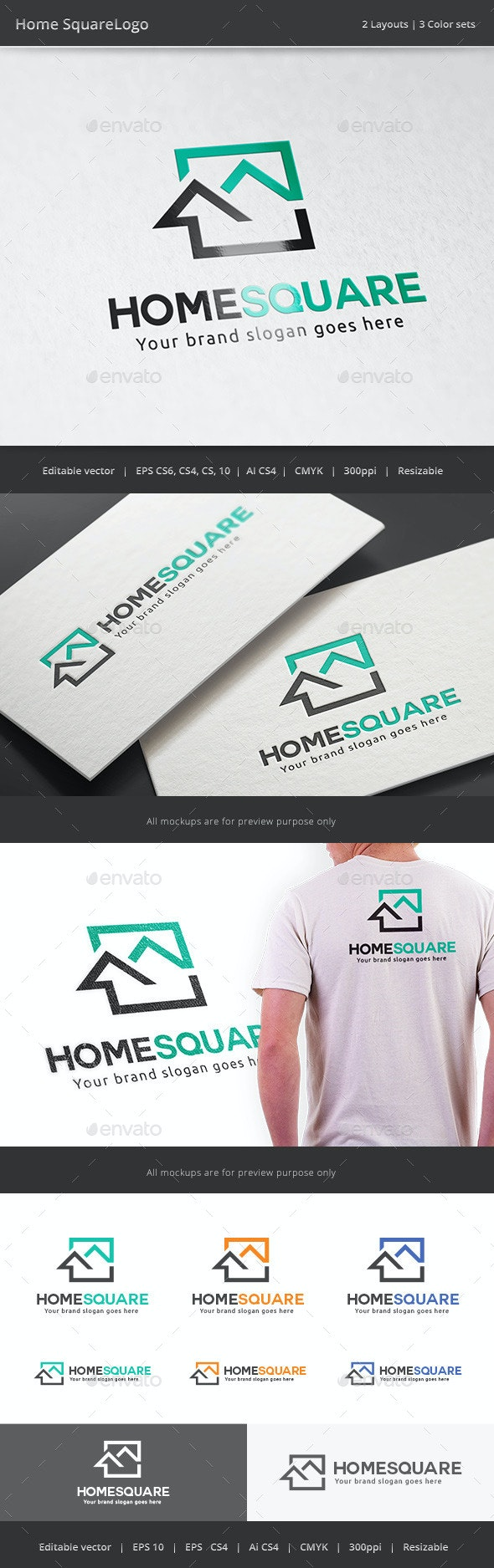 Home Square Real Estate Logo - Buildings Logo Templates