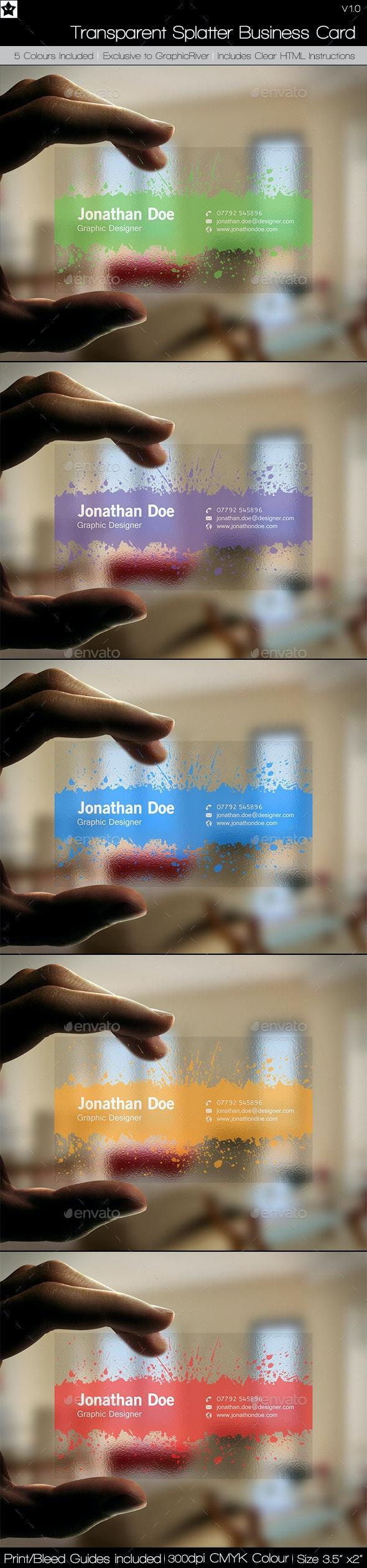 Transparent Splatter Business Cards - Creative Business Cards