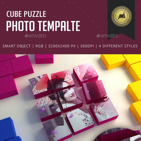 Cube Puzzle Photo Template