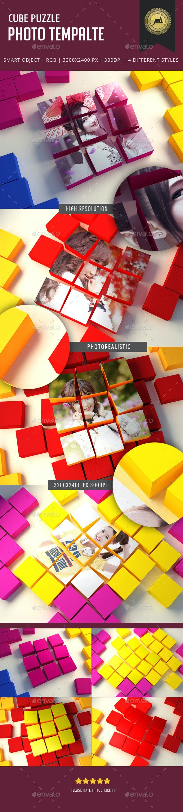 Cube Puzzle Photo Template - Photo Templates Graphics