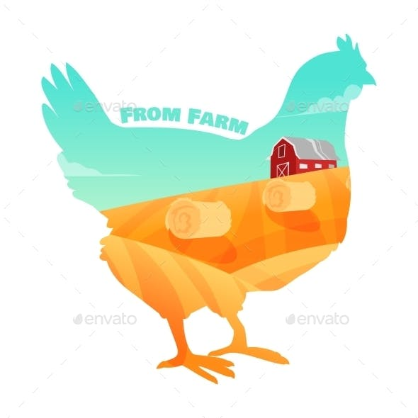 Hen with Farm Background Inside