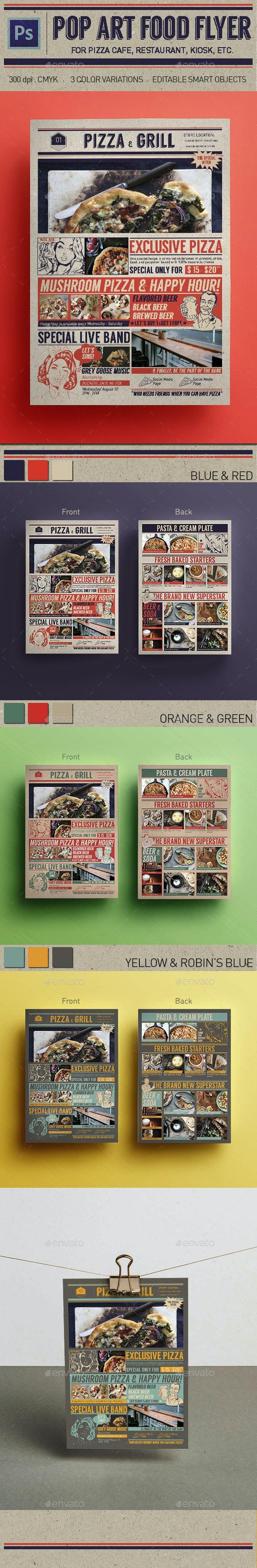 Pop Art Pizza Flyer - Food Menus Print Templates