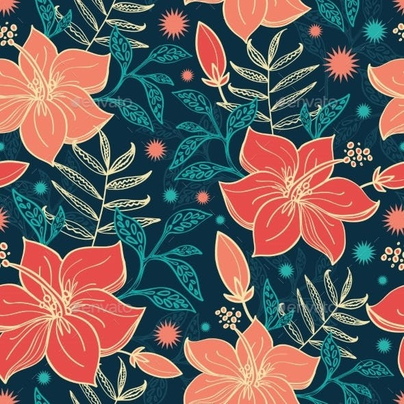 Tropical Hibiscus Flowers Seamless