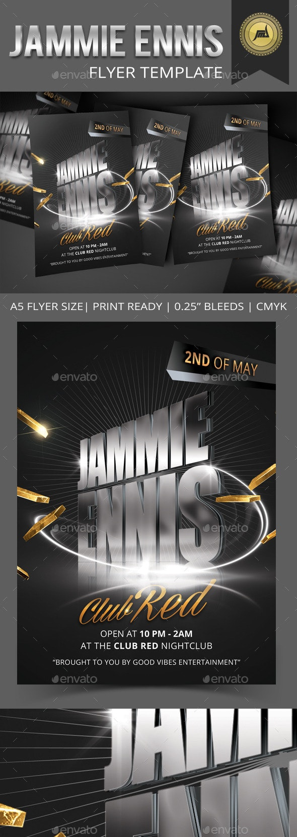 Jammie Ennis Flyer Template - Clubs & Parties Events
