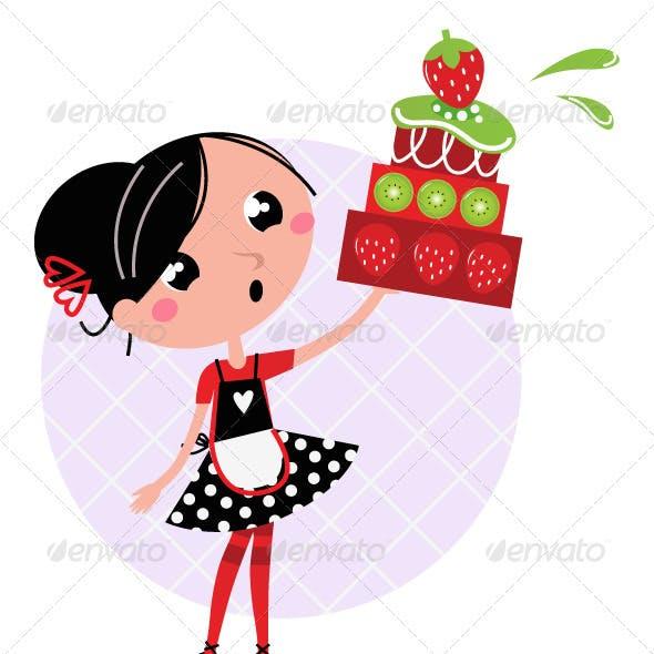 Retro kitchen girl with big fruity cake