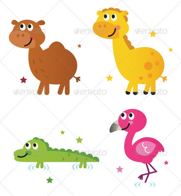 Cute safari africa animals set isolated on white - Animals Characters