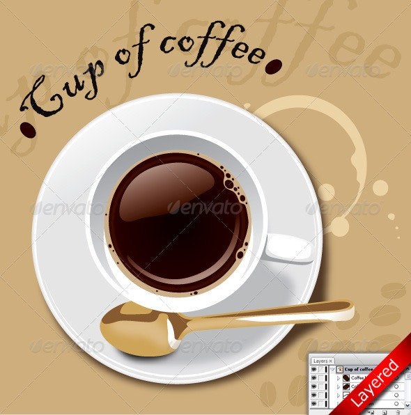Vector Cup of Coffee with Stain - Food Objects
