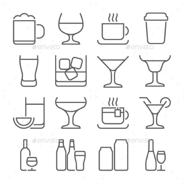 Drink Line Icons Set - Food Objects