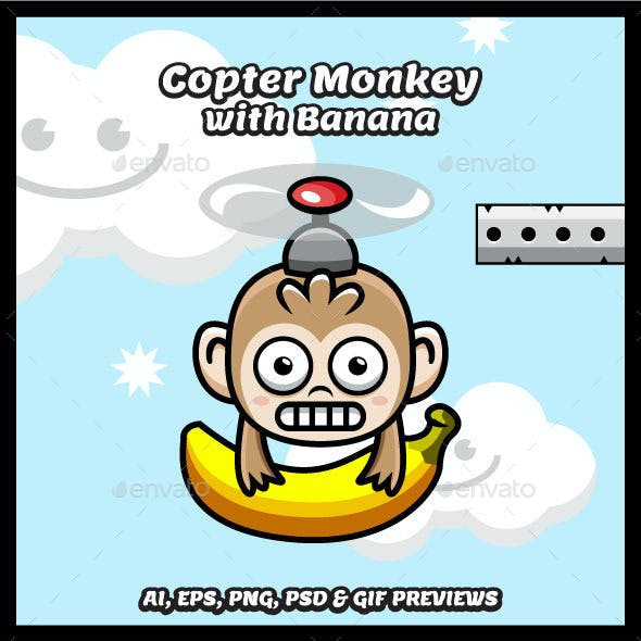 Game Character Copter Monkey with Banana Sprites