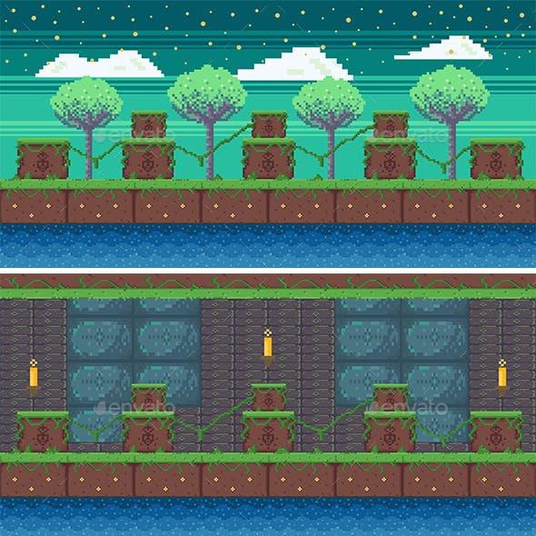 Nature Pixel Art Game Background