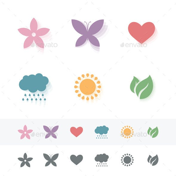 Set of Simple Romantic Icons