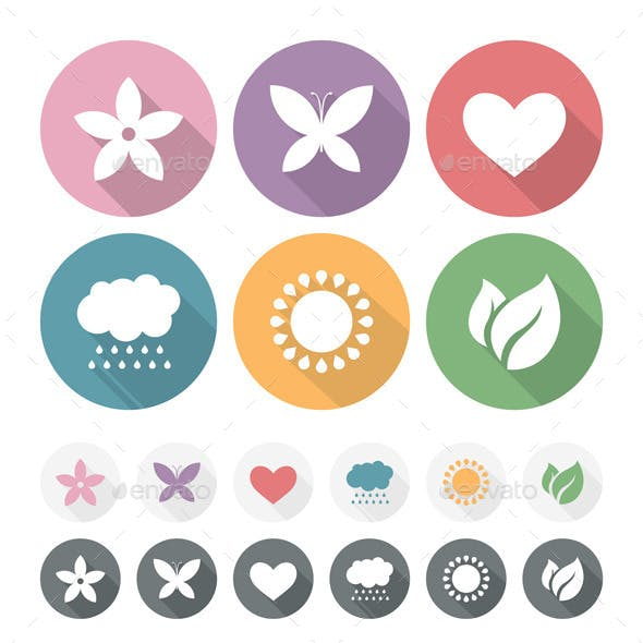 Set of Simple Romantic Flat Icons