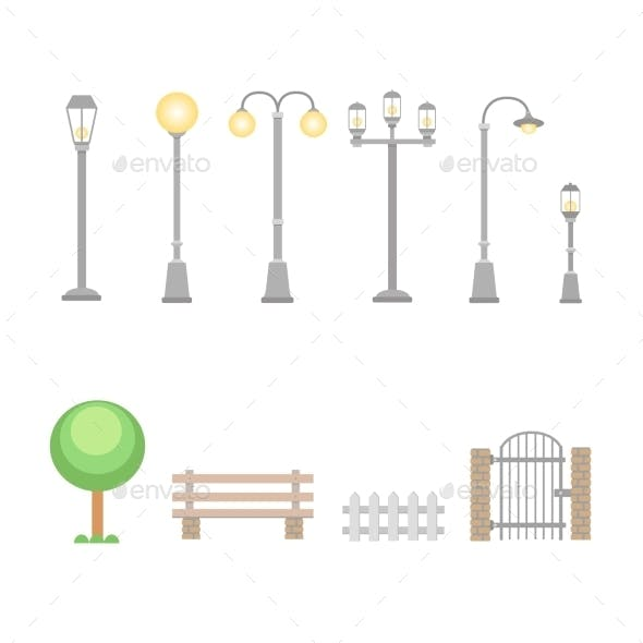 Street Lights and Lamps Set
