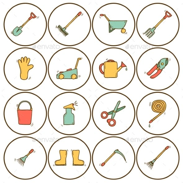 Set of Hand Drawn Icons with Garden Tools