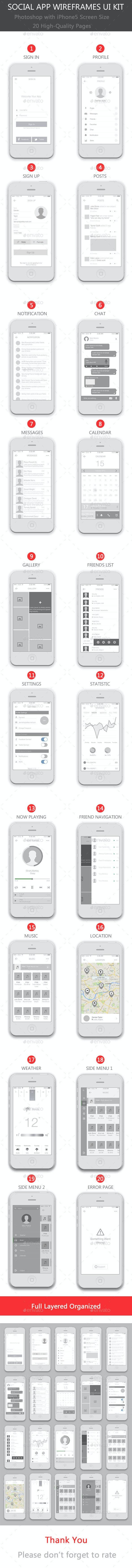 Social App Wireframes UI Kit - User Interfaces Web Elements
