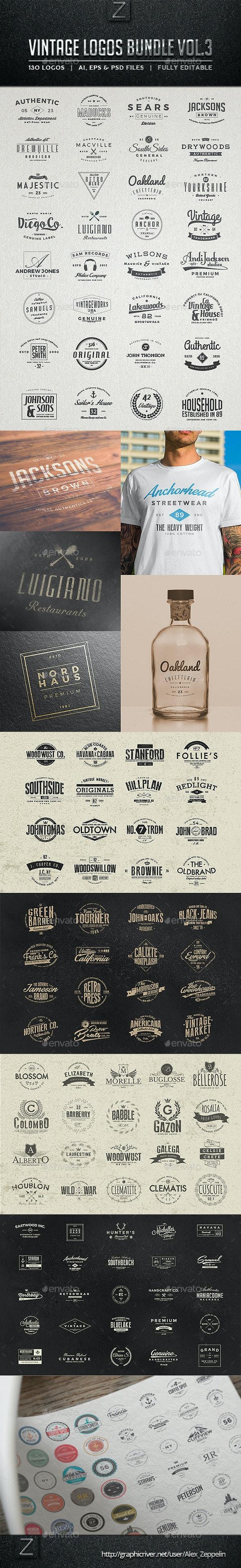 130 Vintage Logos Bundle Vol.3 - Badges & Stickers Web Elements