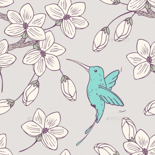Seamless Pattern with Flowers and Bird - Patterns Decorative