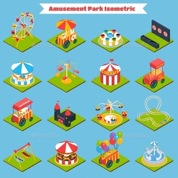 Amusement Park Isometric - Miscellaneous Vectors