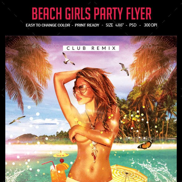 Beach Girls Party Flyer