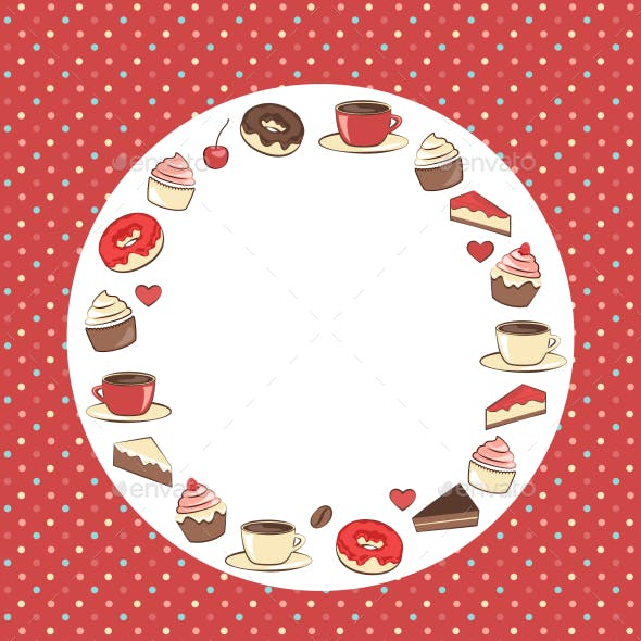 Sweets Circle Frame on Red Background in Dots