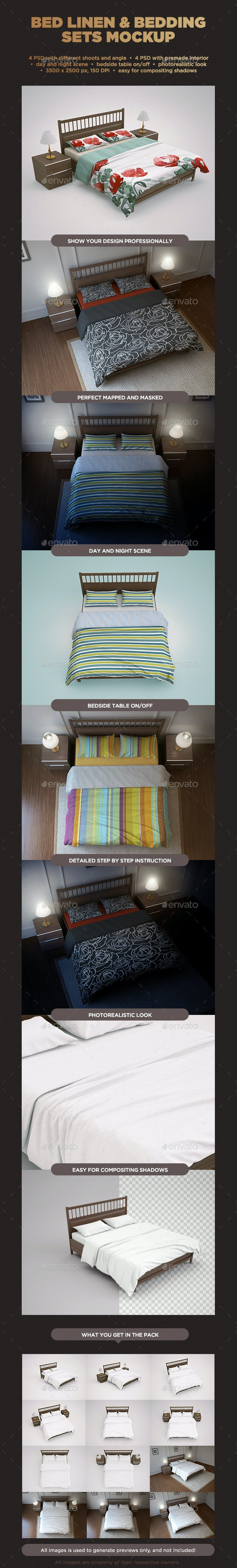 Bed Linen & Bedding Sets Mockup - Miscellaneous Print