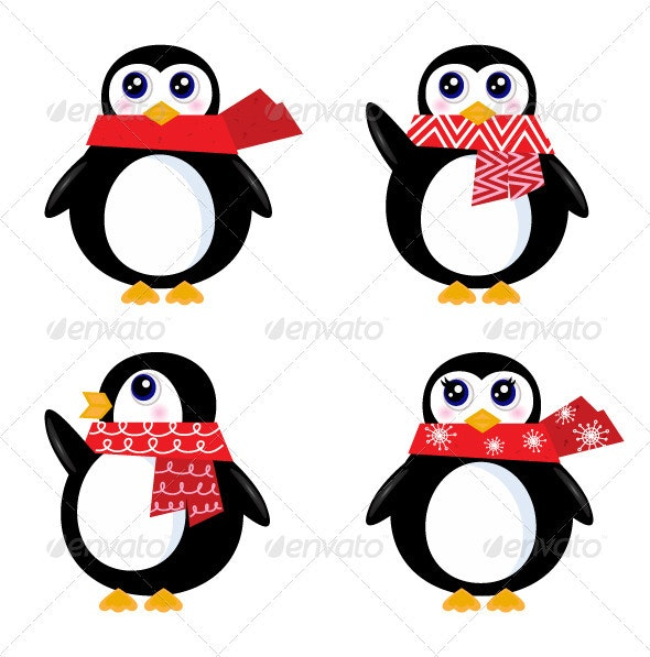 Christmas retro penguin set isolated on white - Christmas Seasons/Holidays
