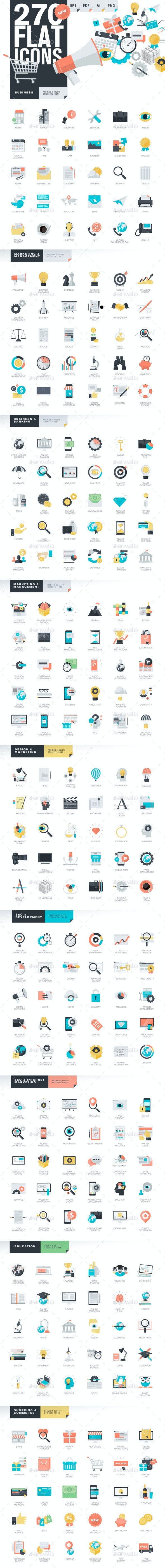 Modern Flat Design Style Icons