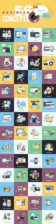 Set of Flat Design Style Concept Icons - Conceptual Vectors