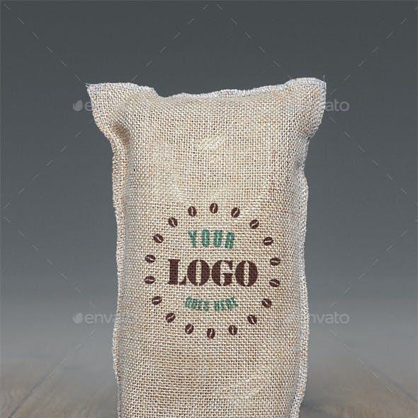 Jute Coffee Bag Logo Mockup