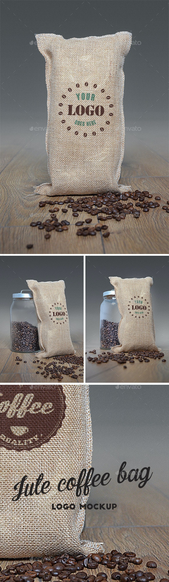 Jute Coffee Bag Logo Mockup - Food and Drink Packaging