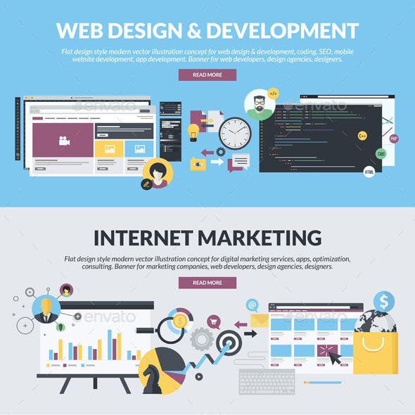 Flat Banners for Web Development and Marketing