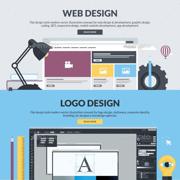 Flat Design Banners for Graphic and Web Design