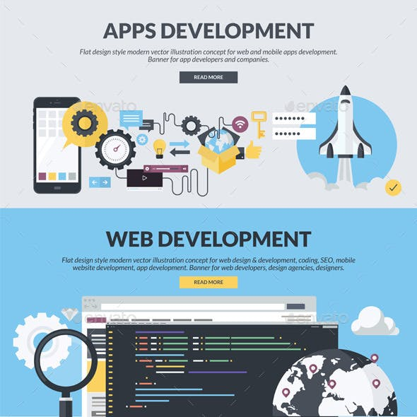 Flat Design Banners for App and Web Development